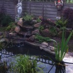 Pond with rockery and waterfall