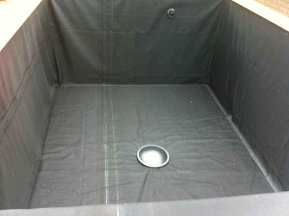 Koi pond box liner installed
