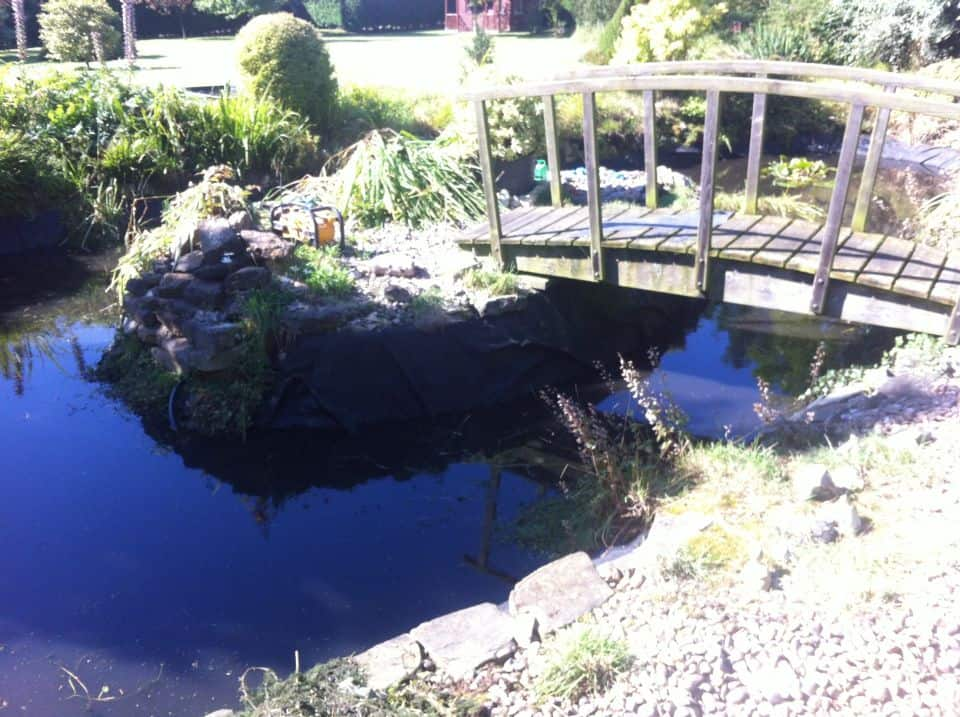 Repaired pond liner